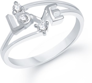 VK Jewels LOVE Ring Alloy Cubic Zirconia Rhodium Plated Ring