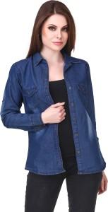 Clo Clu Women's Solid Casual Denim Dark Blue Shirt