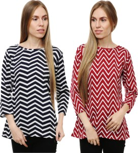 Myshka Casual 3/4th Sleeve Printed Women's Multicolor Top