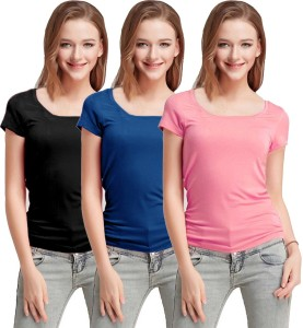 Fashion Line Casual Short Sleeve Solid Women's Multicolor Top