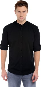 Dennis Lingo Men's Solid Casual Black Shirt