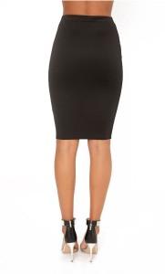 Klatch by Fabrica Solid Women's Straight Black Skirt
