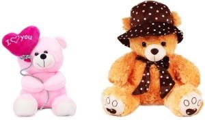Tabby Toys Pink Balloon Teddy 25 Cm And Brown Cap Teddy Bear Stuff