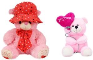 Tabby Toys Cap Teddy 40 cm And Pink Balloon Teddy Bear Stuff Toy  - 40 cm