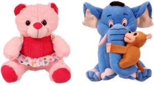Tabby Toys Frock Teddy 35 cm And Elephant With Monkey Stuff Toy  - 35 cm