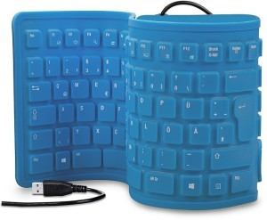 ROQ 103 Keys Maxpro USB Silicone Rubber Waterproof Flexible Foldable Wired USB Laptop Keyboard