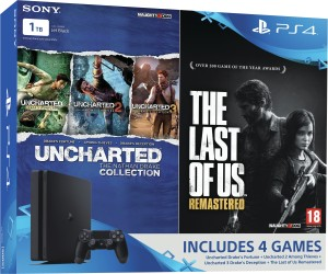 Sony PlayStation 4 (PS4) Slim 1 TB with The Last of Us and Uncharted  Collection ( Jet Black )
