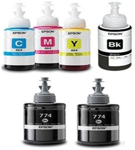 Epson Ink All Colors with 2 M100 Black Extra (T6641-B,T6642-C,T6643-M,T6644-Y) Multi Color Ink