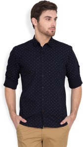 Highlander Men's Printed Casual Black Shirt