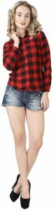BuyNewTrend Women's Checkered Casual Red, Black Shirt
