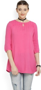 People Casual 3/4th Sleeve Solid Women's Pink Top