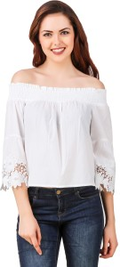 So Posh Casual 3/4th Sleeve Solid Women White Top