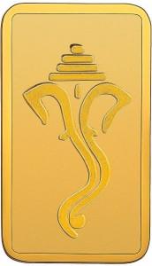 RSBL BIS Hallmarked Ganesh Head Design Precious 24 (999) K 1 g Yellow Gold Bar