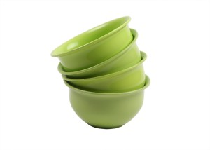 Richcraft Microsafe Ruffles 4 Pieces Bow (Green) Microfibre Bowl Set