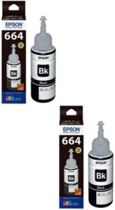 Epson Ink T6641 Black Ink Pack of 2 For L100/L110/L200/L210/L300/L350/L355/L550 Single Color Ink