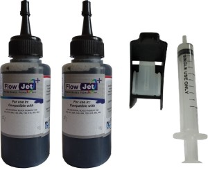 Flowjet 2 BOTTLES WITH SYRINGE FOR REFILLING OF HP,CANON,BROTHER INK CARTRIDGES Single Color Ink