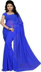 Blue Solid Bollywood Synthetic Georgette Saree