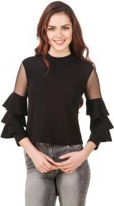 BrandMeUp Party 3/4th Sleeve Solid Women's Black Top