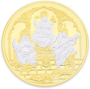 Taraash Gold Plated Lord Lakshmi , Ganesh & Saraswati S 999 20 g Silver Coin