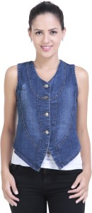 Y and C Fab Sleeveless Solid Women's Denim Jacket