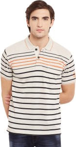 5e3c7d371 Duke Striped Men s Polo Neck White Black T Shirt Best Price in India ...