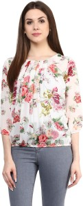 Mayra Casual 3/4th Sleeve Floral Print Women's Multicolor Top