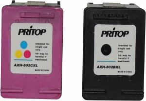 Pritop 802 XL Ink cartridge One Black & Color Combo pack for HP Deskjet 1000 (J110a) 1050 2000 (J210a) Office jet 2620 4630 printer. Multi Color Ink