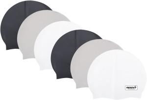 DeNovo DeNovo (Set of 6) Ecnomical Set of Silicone Swimming Caps (Black, White & Grey ) Swimming Cap