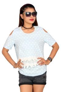 Fashion Stylus Casual Short Sleeve Polka Print Women's Light Blue Top