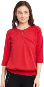 The Vanca Casual 3/4th Sleeve Solid Women's Red Top