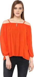 The Vanca Casual 3/4th Sleeve Solid Women's Orange Top