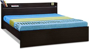 Debono Coral Queen bed with shelf in headboard Engineered Wood Queen Bed