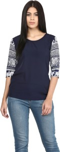 Mayra Party 3/4th Sleeve Solid Women's Dark Blue Top