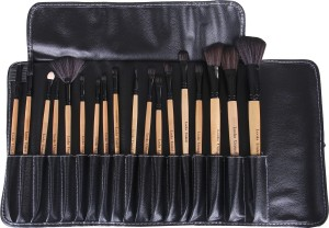 Looks United Cosmetic Makeup Brush Set With Leather Pouch