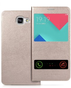 Netboon Flip Cover for Samsung Galaxy A9 Pro Gold, Leather