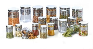 Shrih 18-Pieces Transparent With Silver Foil Printing  - 300 ml, 500 ml, 1200 ml Plastic Multi-purpose Storage Container