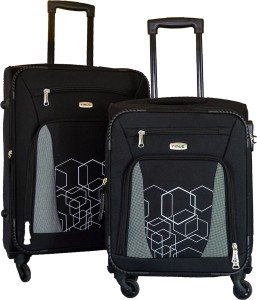 Timus Morocco SPINNER 55 & 65cm BLACK Travel Combo Expandable  Check-in Luggage - 24 inch