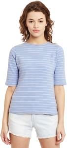 Primo Knot Casual Short Sleeve Printed Women's Blue, Pink Top