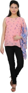 Express 2 Impress Casual Full Sleeve Printed Women's Pink Top