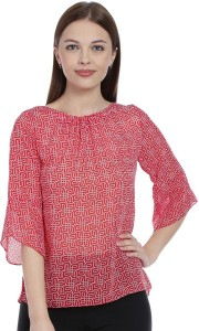 Zink London Casual Sleeveless Geometric Print Women's Red Top