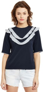 Primo Knot Casual Short Sleeve Solid Women's Dark Blue, Grey Top