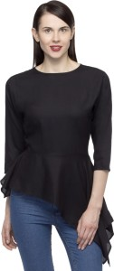 Primo Knot Party 3/4th Sleeve Solid Women's Black Top