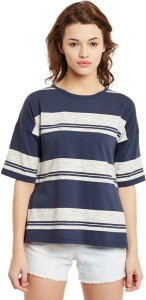 Primo Knot Casual Short Sleeve Printed Women's Blue, White Top