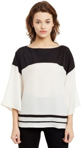 Primo Knot Party 3/4th Sleeve Solid Women's White, Black Top