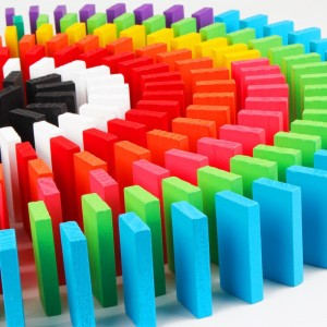 Trinkets & More 100 pieces Domino Game Set 10 Colours Wooden Building and Stacking Toy Counting Adding Subtracting Multiplication Racing Game Toy Educational Toy for Kids 3+Years