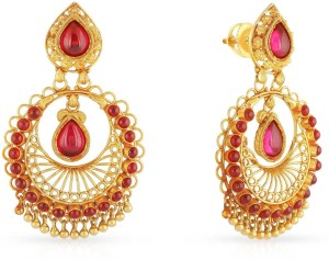Malabar Gold and Diamonds Yellow Gold 22kt Chandbali Earring