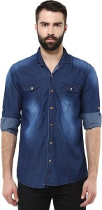 Urbano Fashion Men's Solid Casual Denim Dark Blue Shirt