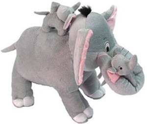 Manoj Enterprises Fashionble Gift Soft stuff Family Elephiant with Two Baby 40cm  - 11 inch