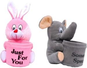 Manoj Enterprises Fashionble Gift Soft Stuff Combo Pen Holder Bunny & Appu 8 Cm  - 15 inch