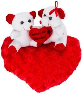 Manoj Enterprises Fashionble Gift Soft Stuff Love Heart With Two Teddy Bear 35 Cm  - 14 inch
